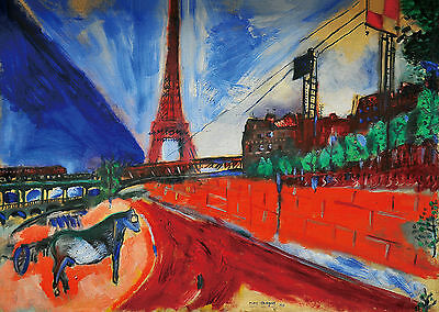 Marc Chagall  The Pont de Passy and the Eiffel Tower   71 x 100 cm TELA  QUADRI