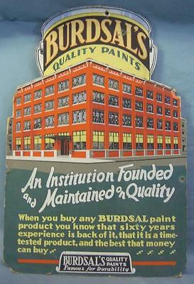 Amazing vintage 1940s BURDSAL's quality paint advertising die cut poster! WOW!
