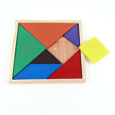 Children Kids Educational Tangram Shape Wooden Puzzle Toy Brand New