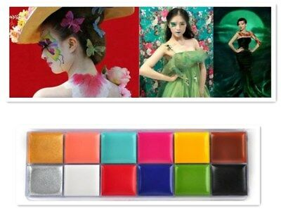 12in1 Pro Face Eyes Cheek Body Painting Flash Color Cosmetic Case Makeup Palette