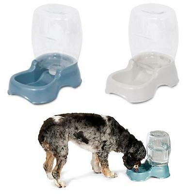 Petmate Cafe Waterer Gravity Pet Drinker Dog Puppy Water Bowl Blue White 2.8L