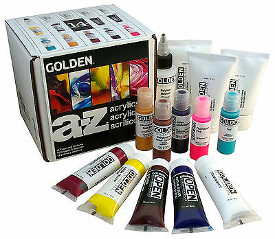 Golden A-Z Artist Acrylic Paint Set 14 Pieces Colours + Mediums
