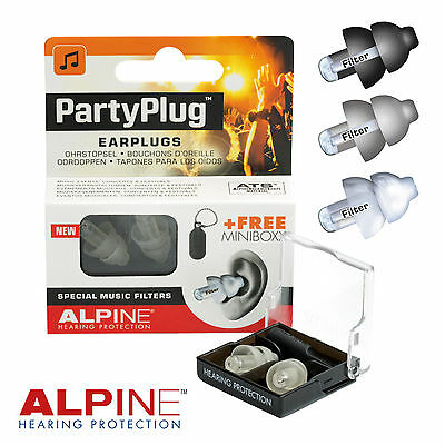 ALPINE PARTYPLUG Music Earplugs Acoustic 19dB White Silver Black Cleaning Spray