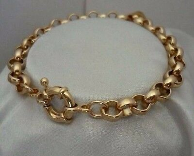 "9ct 9k Yellow ""Gold Filled"" Men Ladies Belcher Chain Bracelet . 8.7"" Gift"
