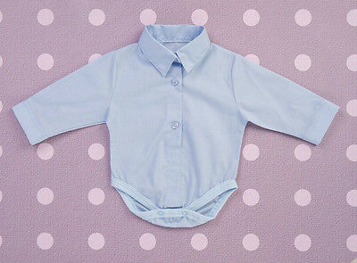 Baby Boy Blue White Smart Bodysuit Body Shirt Baptism Christening Birthday 0-18M