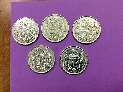 1940-45 CANADA SILVER 50 Cent Half Dollars LOT of 5