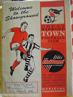 Football Programme Great Harwood Town V Harrogate Town 24Th Aug 1996