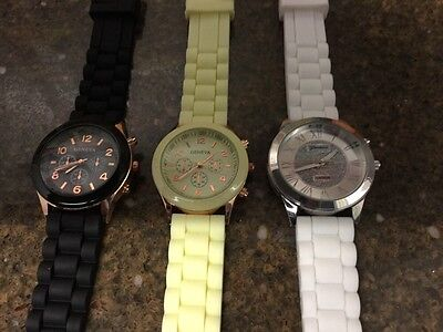 Lot Of 3 Geneva Watches For Women White Yellow Black Rose Gold New Watch