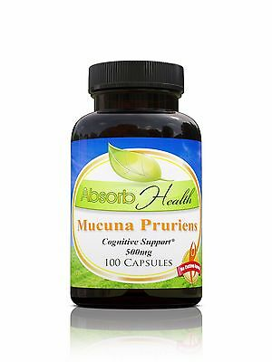 Mucuna Pruriens 100 Capsules 500mg Improves Sexual Health and Mood 15% L-Dopa