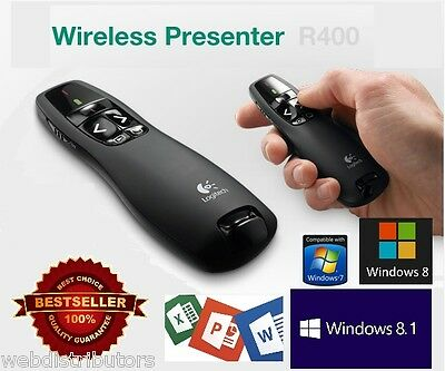 NEW 2015 PRO Model! Logitech R400 Presenter Laser Pointer USB Wireless Receiver