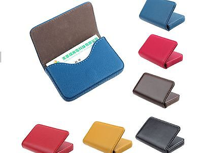 Portable magnetic lock synth. leather business credit card ID card holder wallet