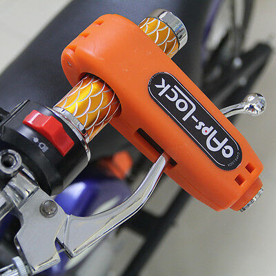 Caps-Lock Motorcycle Scooter Handlebar Brake lever Grip Security Lock Orange