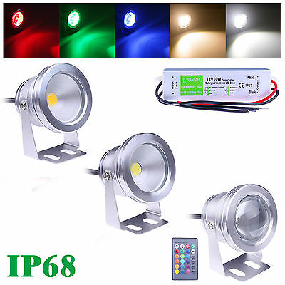 New 12V LED Underwater Spot Light 10W RGB Cool Warm White Garden Flood Pond Lamp