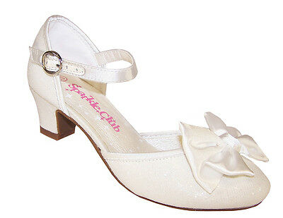 Girls Ivory Sparkly Bridesmaid Low Heel Shoes Wedding Flower Girl Seconds