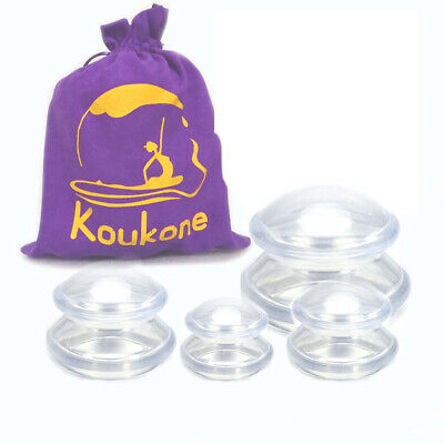 Transparent Silicone Massage Cupping THERAPY SET Cellulite Treatment Suction Jar