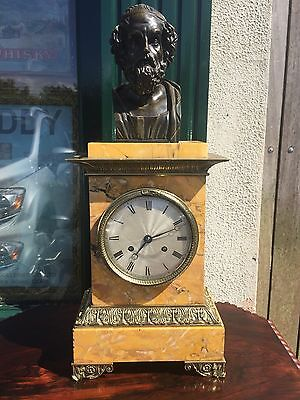 An Antique 19th century Sienna Marble French Mantle Clock