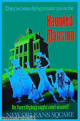 Anaheim California Disney Haunted Mansion United States Travel Advert Poster