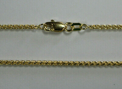 "14Kt 14K Yellow 16 18 20 24"" Solid Gold 1.7mm Round Wheat Necklace Chain Lobster"