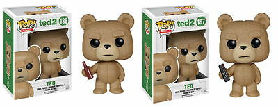 """Funko TED 2 MOVIE 3.75"""" POP FIGURE SET - TED WITH TV REMOTE & BEER 2PC SET"""