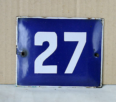 VINTAGE 60`s French BLUE PORCELAIN ENAMEL SIGN PLATE STREET HOME DOOR NUMBER 27