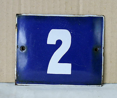 VINTAGE 60`s French BLUE PORCELAIN ENAMEL SIGN PLATE STREET HOME DOOR NUMBER 2