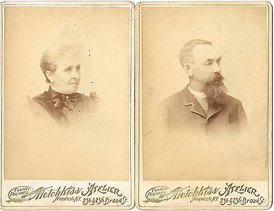 2  Antique 1892 Photo's of old man and old lady by Atotchkiss Atflier