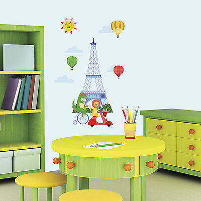 New ANIMALS IN PARIS GIANT WALL DECALS  Baby Nursery Stickers Kids Room Decor