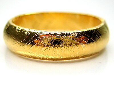 7/O  Gibeon Iron Nickel Meteorite 18K Yellow Gold Clad 5.5Mm Band Ring