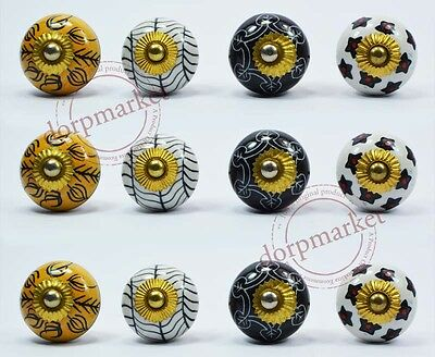 12Pcs Yellow,Black&Multi color Kitchen /dress Ceramic Knobs Cupboard drawer Pull