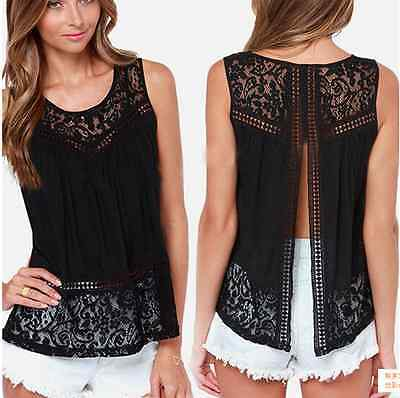 New Fashion Women Backless Vest Sleeveless Lace Blouse Casual Tank Tops T Shirt