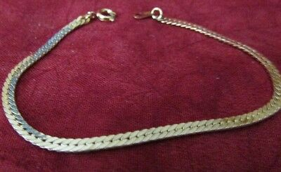 Nine West Gold Tone Thin Braid Bracelet 7 1/4 Spring Clasp