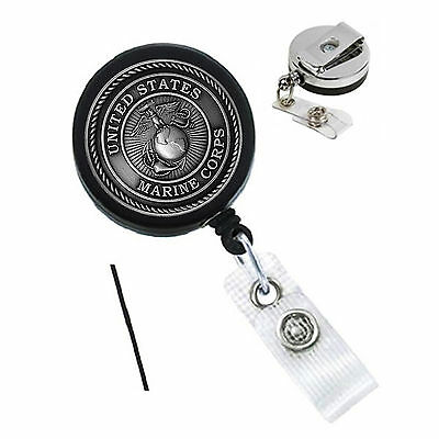 USMC Marine Corps EGA Black Chrome Heavy Duty Metal ID Cord Badge Reel Belt Clip