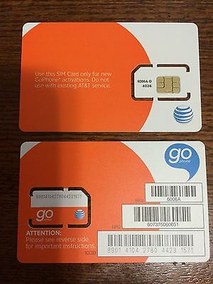 NEW AT&T Sim Card Prepaid Go Phone Ready to Activate Standard Size 6006A