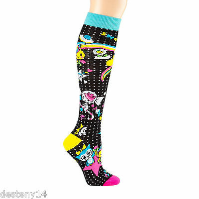 Neon Star by Tokidoki Knee High Socks Electric Neon Multi Color Size 9-11 NWT