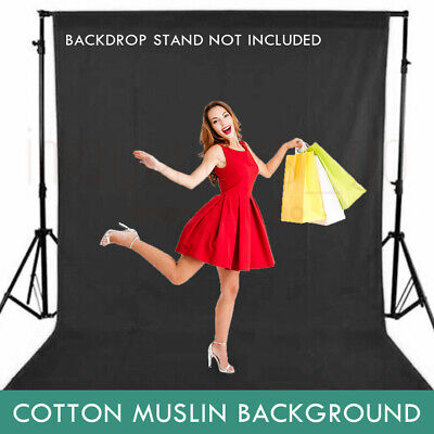 Two Size Backdrop Black Photo Studio Muslin 100% Cotton Photography Background