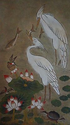 Pre 1940 Korean MinHwa Folk Hand Painting of Cranes, Carp, Turtle, Birds & Lotus