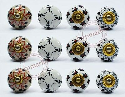 12 Pcs White With Mix Color Kitchen / dress Ceramic Knobs Cupboard drawer Pull