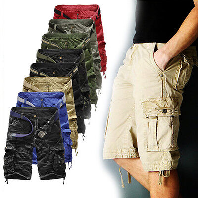 2016 Summer Mens Casual Combat Cargo Chino Shorts Multi Pocket Pants Trousers