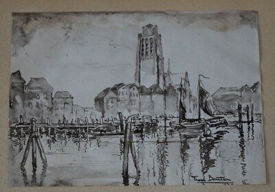 Original Bild Gemäldei Aquarell Watercolor 1929 * Frans Berntsen ?