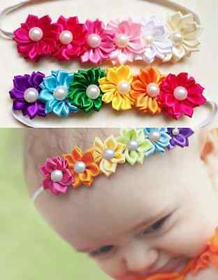 Baby Girl Toddler Satin Colorful Six Flower Hair Band Headband Elastic Headdress