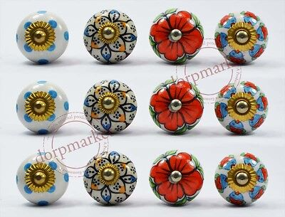 12Pcs White,Red & Dotted  Color Kitchen/dress Ceramic Knobs Cupboard drawer pull