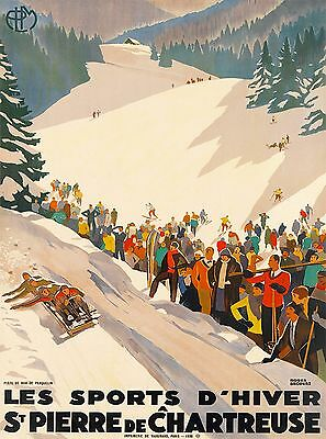 France St. Pierre de Chartreuse Winter Ski Europe Travel Advertisement Poster