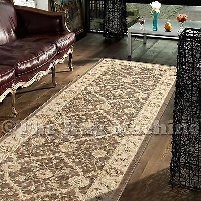 DEVINE BROWN CREAM VINTAGE FLORAL FRENCH TRADITIONAL HALL RUNNER 80x500cm **NEW*