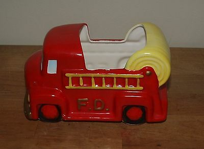 Vintage INARCO E-4128 Red Fire Truck Pottery Planter