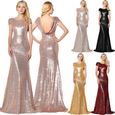 Rose Gold Sequin Long Wedding Bridesmaid Dress Ladies Prom Ball Gown Party Dress
