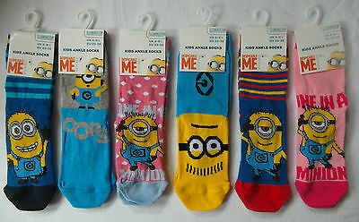 DESPICABLE ME / MINIONS Ankle Socks for Kids - 6 DESIGNS