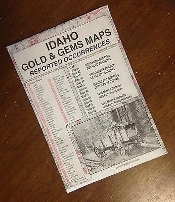 IDAHO Gold & Gems Maps Then and Now LOCATE Minerals Fossils