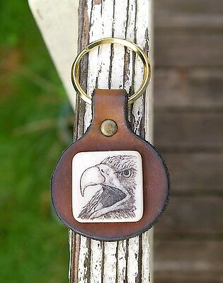 Scrimshaw American Bald Eagle Brown Leather Keychain Keyring Antique