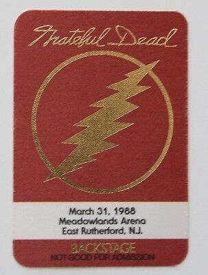 Grateful Dead Backstage Pass 3-31-88 Meadowlands Arena New Jersey