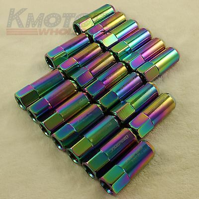 New Neo Chrome 20Pcs 14X1.5Mm 60Mm Extended Forged Aluminum Tuner Racing Lug Nut